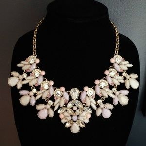 Pink, purple and clear statement necklace